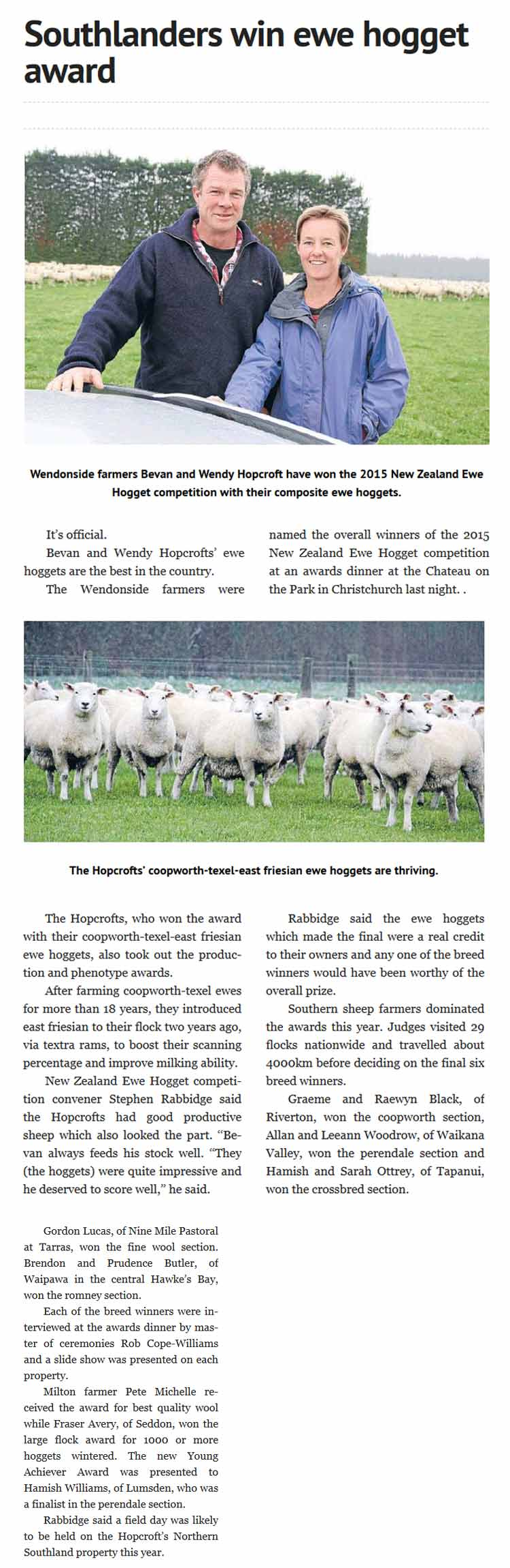 Southlanders win ewe hogget competition
